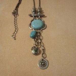 Boho Silver Tone Turquoise Charm Necklace